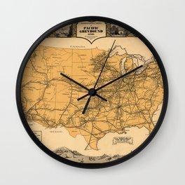 Greyhound Bus Line Map 1935 Wall Clock