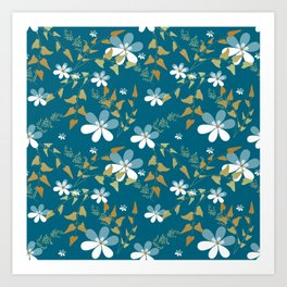 White flowers on a blue background . Art Print
