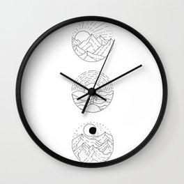 Natural Landscape Circular Vignette Trio Design Wall Clock