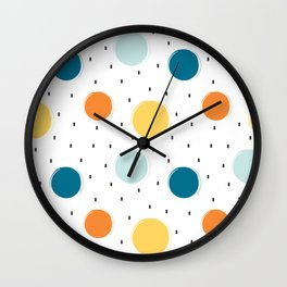 cute colorful pattern with grunge circle shapes Wall Clock