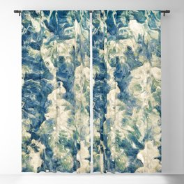 Painting of a dark blue sea waves texture 02 Blackout Curtain