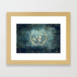 The United Nations Flag - Vintage version Framed Art Print