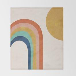 The Sun and a Rainbow Throw Blanket
