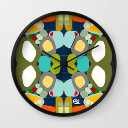 ON THE GRID navy Wall Clock