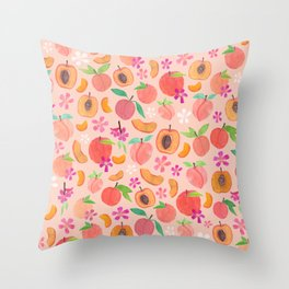 Apricot, Nectarine, & Peaches Throw Pillow