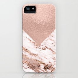 Pastel pink warm rose marble iPhone Case