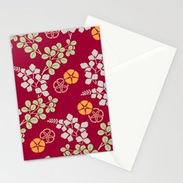 Sumi Print - Leafs and Flowers in red Stationery Cards