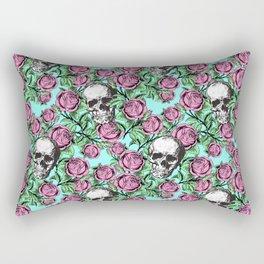 Skulls & Roses Pattern on Blue Rectangular Pillow