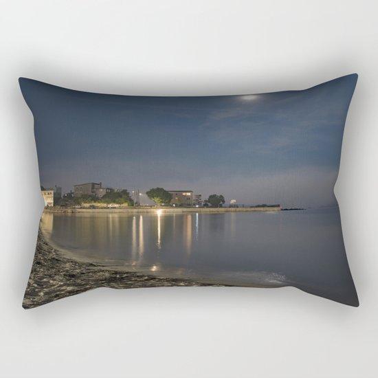 Foggy Moonlit Beach Rectangular Pillow