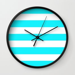 Lotion blue - solid color - white stripes pattern Wall Clock