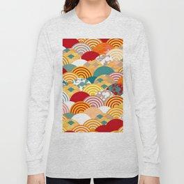 Nature background with japanese sakura flower, orange red pink Cherry, wave circle pattern Long Sleeve T-shirt
