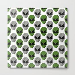 Alien Face Polka Dot Pattern Metal Print