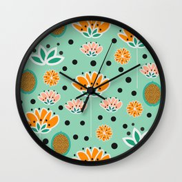 Summer flowers in mint Wall Clock