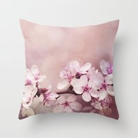 cherry blossom Throw Pillows featuring Cherry Blossom by LebensART Photography