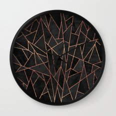 Shattered Black / 2 Wall Clock
