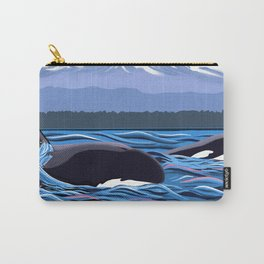 Orcas Under the Pink Sky Carry-All Pouch