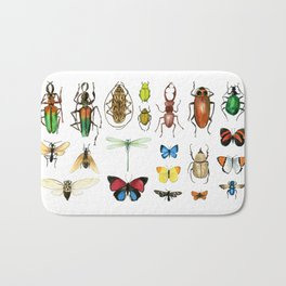 The Usual Suspects - insects on white Bath Mat