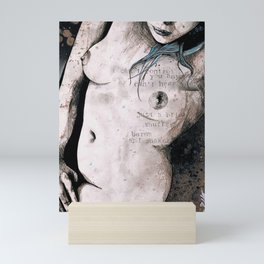 Rotten Apple: Turquoise (nude topless girl, erotic graffiti portrait) Mini Art Print