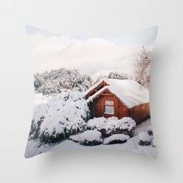 Snow cottage Throw Pillow