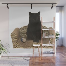 The Queen on her Couch, Edie the Manx, Black Cat Photograph Wall Mural