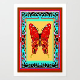 Southwestern Style Design With Red-gold Swallow Tail Butterfly Art Print