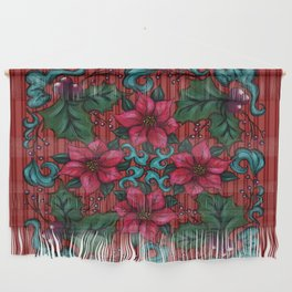 Holly and Poinsettias Christmas Hanging  Wall Hanging