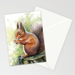 Squirrel and Nut Forest Animals Watercolor Stationery Cards