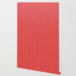 Herringbone Red Wallpaper