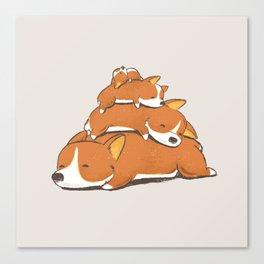 Comfy Bed - CORGI Canvas Print
