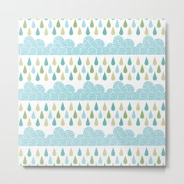 Modern teal green water drops geometrical shapes pattern Metal Print