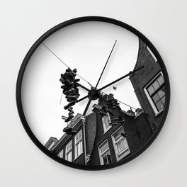 Hanging shoes in Amsterdam Wall Clock