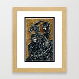 """Victorians Riding Dinosaurs - Parasaurolophus"" Framed Art Print"