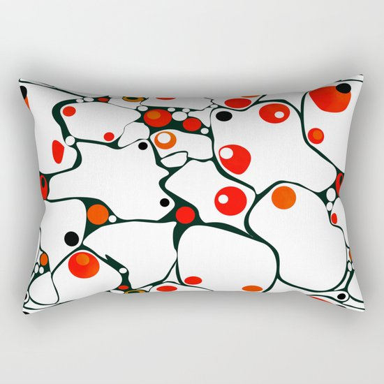 Abstract black and white pattern with red polka dots . Rectangular Pillow