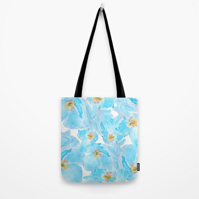 blue poppy pattern Tote Bag
