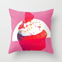 cupcake Throw Pillows featuring Cupcake by Mr and Mrs Quirynen