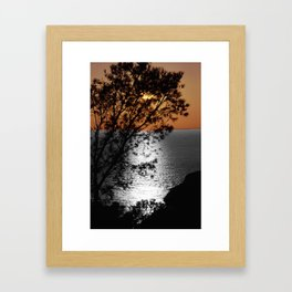 silver gold sunset black and white with color Framed Art Print