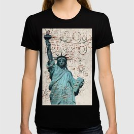Patriotic Statue of Liberty with Flag Embellishments -abstract T-shirt