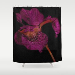 Subtle Psychedelic Print Black and Deep Magenta Iris Shower Curtain