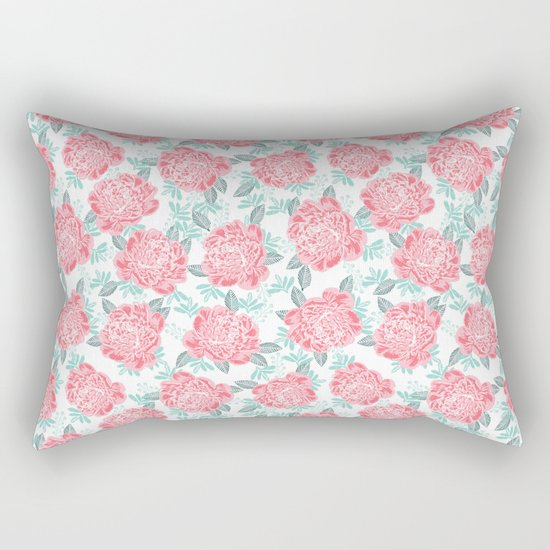 Peony Floral flower garden nature illustration painting free spirit boho college girly pink pastel  Rectangular Pillow