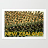 new zealand Art Prints featuring New Zealand by STYLERHINES