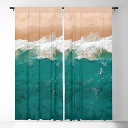 Lapping Aqua Waves On A Sandy Beach Blackout Curtain
