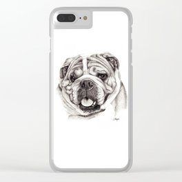 English Bulldog drawing Clear iPhone Case