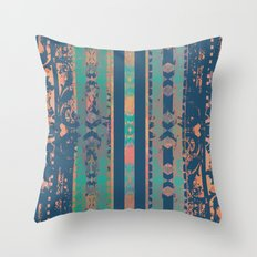 Navy and Peach Boho Throw Pillow