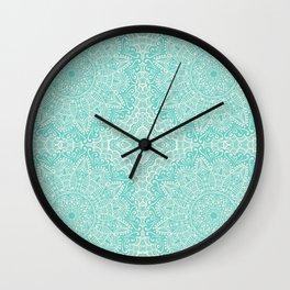 Turquoise Mandalas Pattern  Wall Clock
