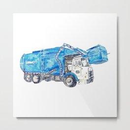 Garbage truck print Trash truck Kids room wall decor painting watercolour ink blue Art Illustration boy girl car vehicle Nursery Colorful Metal Print