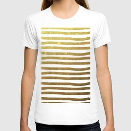 Gold foil painted stripes T-shirt