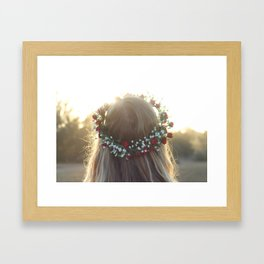 The Girl With The Flower Crown Framed Art Print