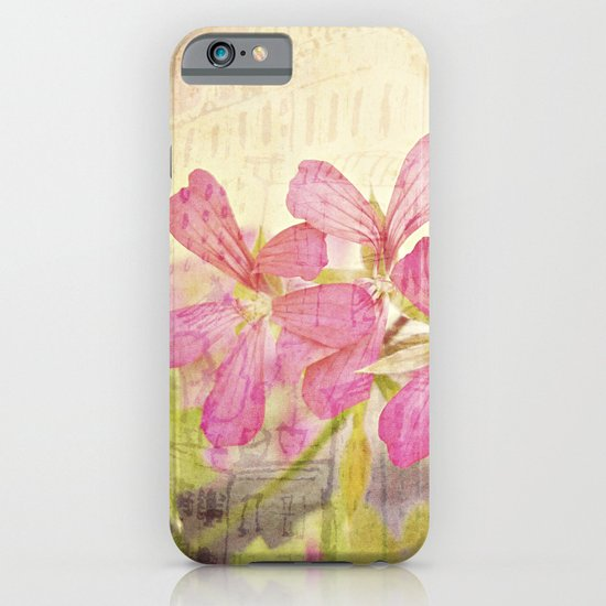 Vintage Whimsical Watermelon Pink Summer Geraniums in the City Montage Collage _  très chic iPhone & iPod Case