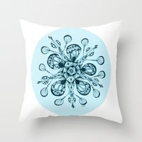snowflake Throw Pillows featuring Snowflake by Laura Maxwell