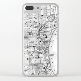 Vintage Map of Milwaukee Wisconsin (1878) BW Clear iPhone Case
